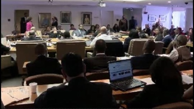 Detroit city council meeting table