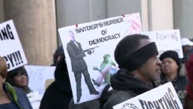 Detroit emergency manager protesters