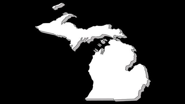 State of Michigan black background