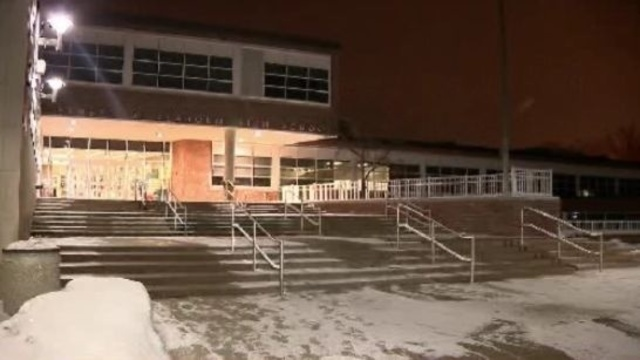 Birmingham Seaholm High School at night