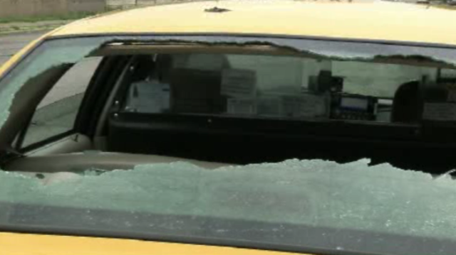 Detroit taxi busted window