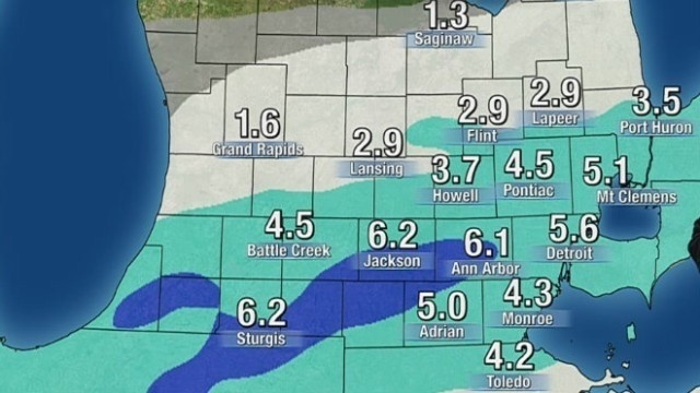 Lower Michigan snow totals forecast for March 12