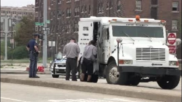 Armored truck robbery in Detroit scene