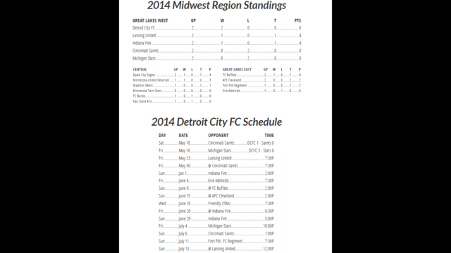 DCFC standings schedule