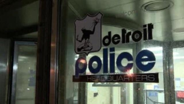 Detroit Police Headquarters door sign