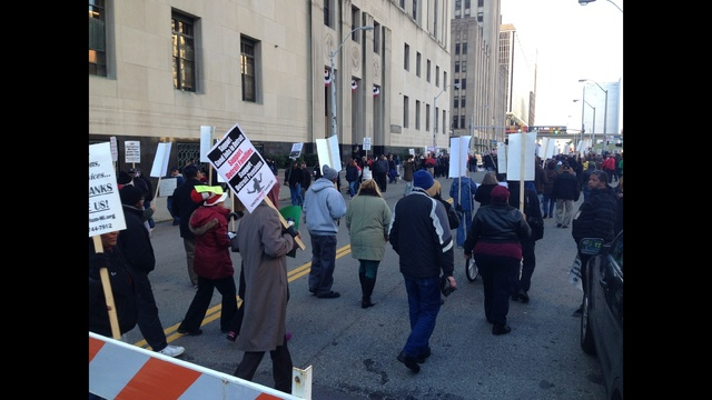 Detroit bankruptcy protestors downtown