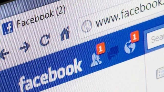 Facebook banner on computer