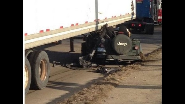 Jeep involved in Van Buren crash scene