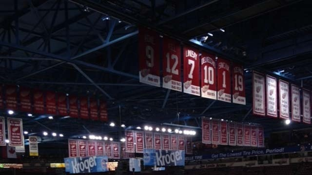 Banners hanging at Joe Louis Arena, home of the Detroit Red Wings