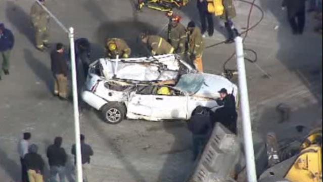Plymouth rollover crash scene 1