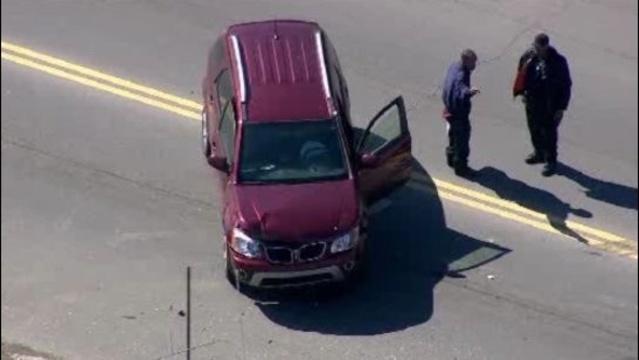 Police car motorcycle crash Detroit 1
