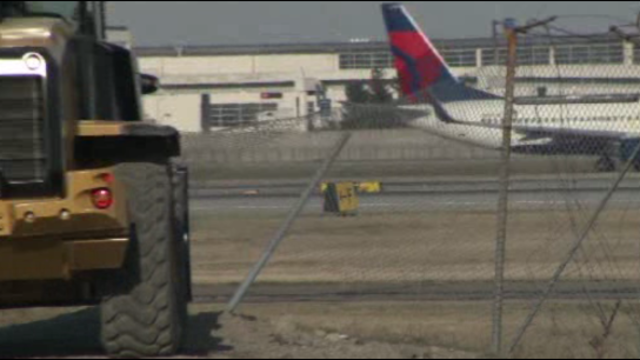 Smashed fence at DTW 2