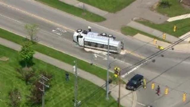 Truck overturned West park Drive Novi 1