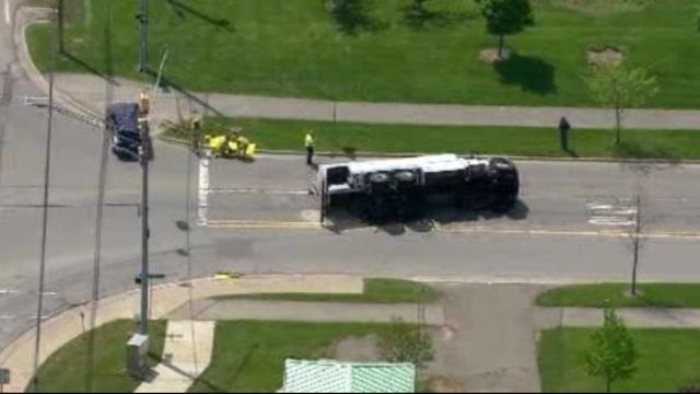Truck overturned West park Drive Novi 3