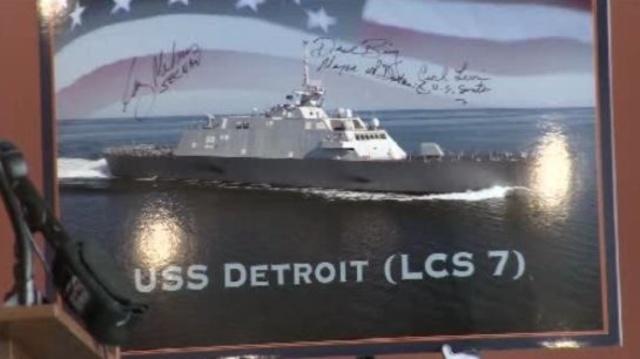 USS Detroit unveiling