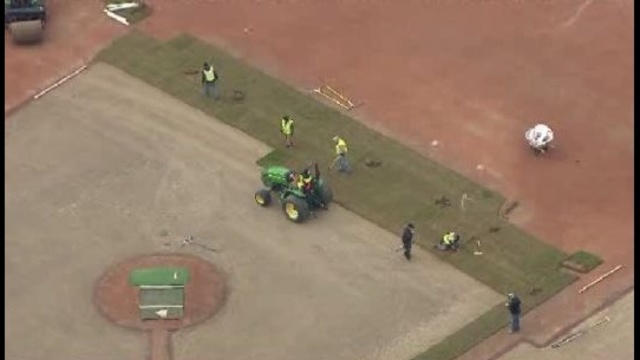 aerials of sod going down