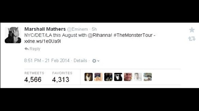 Eminem tweets about The Monster Tour