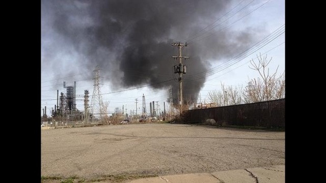 Local 4 viewer photo of Marathron Detroit Refinery fire