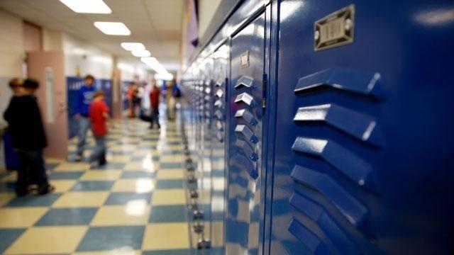 Locker in school hallway