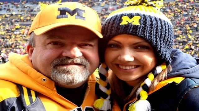 Ashlee Baracy and her dad at the Big House in Ann Arbor