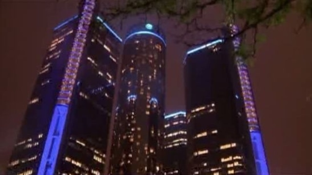 GM Renaissance Center at night Detroit