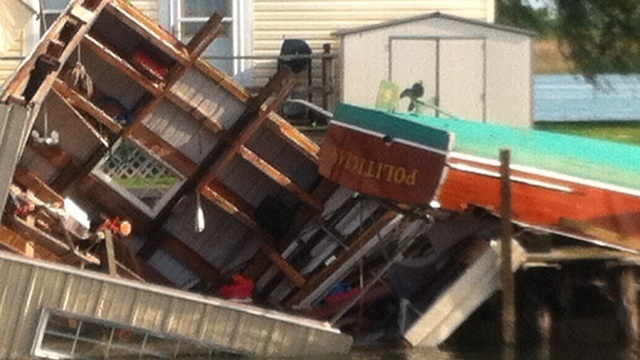 Boat flips on Harsens Island when storms move through