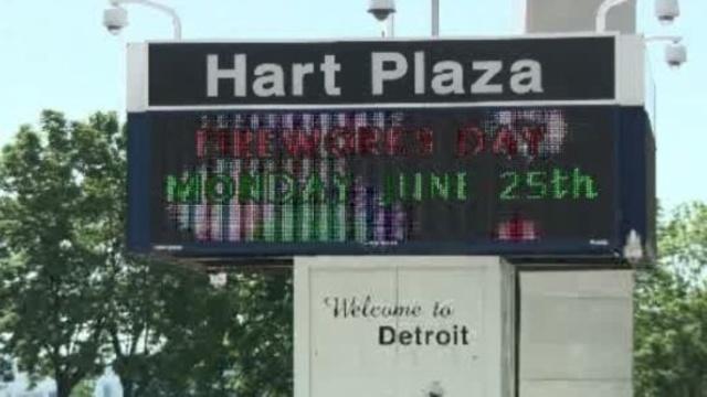 Hart Plaza Detroit fireworks sign