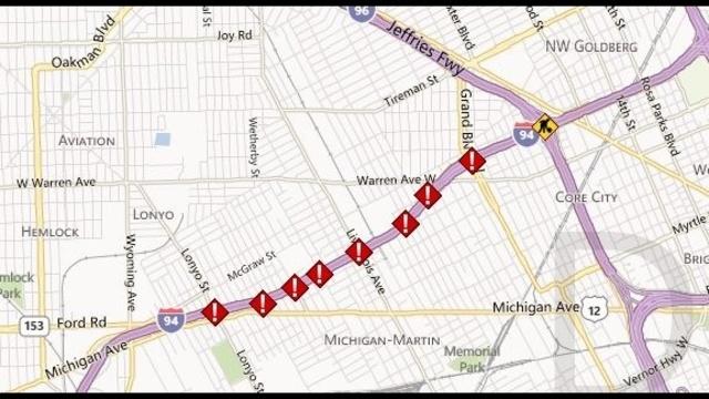 I94 Livernois traffic map