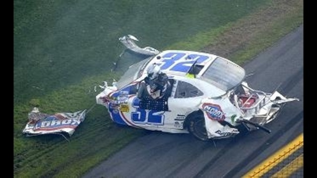Kyle Larson's car after crashing at Daytona