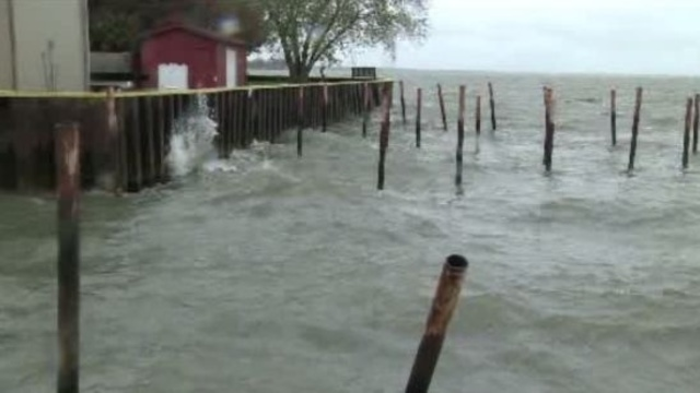 Lake St Claire during hurricane Sandy Michigan