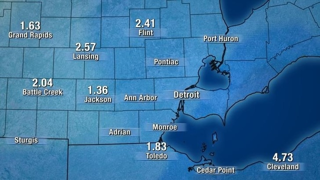 Metro Detroit rainfall graphic Friday