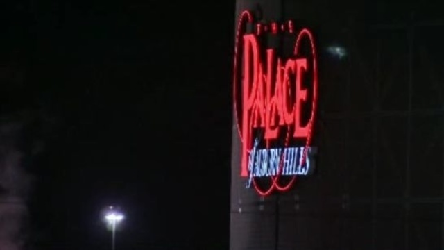 Palace of Auburn Hills sign at night