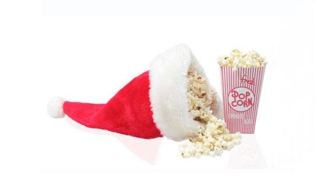 Santa hat with movie popcorn Christmas