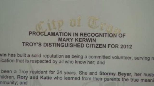 Troy Distinguished Citizzen awward to Mary Kerwin