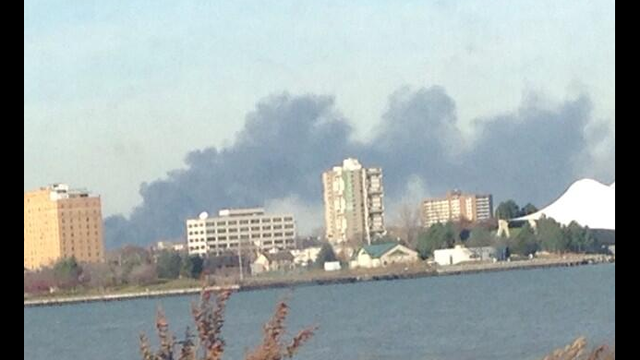 View of fire from Windsor