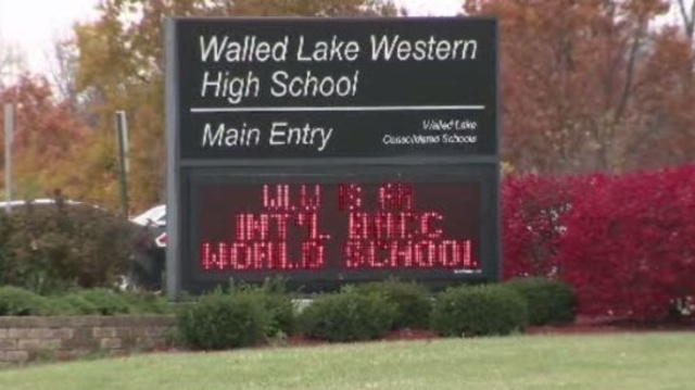 Walled Lake Western High School sign
