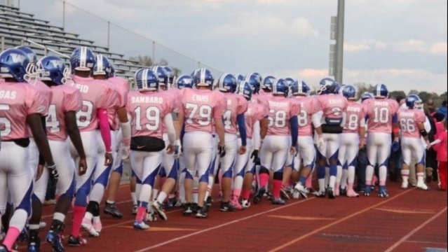 Walled Lake football pink uniforms 2
