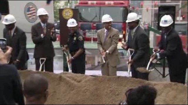 detroit headquarters groundbreaking hard hats