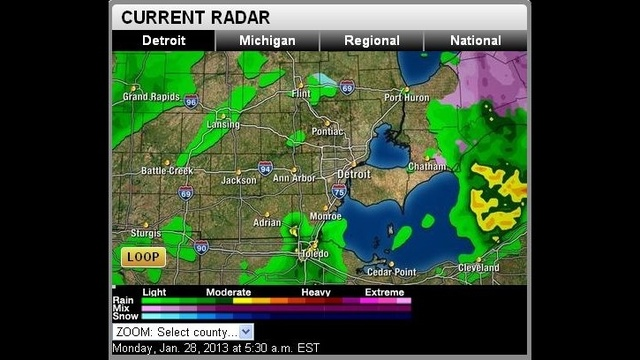 Radar imagery of conditions as of 5:30 a.m. Monday