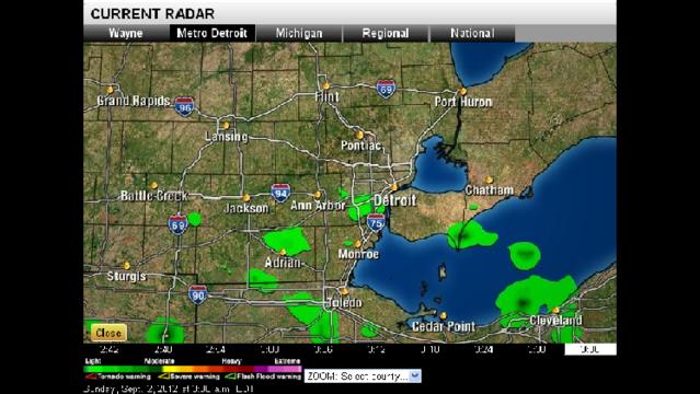 Radar imagery at 3:36 a.m. Sunday, September 2, 2012