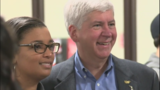Gov. Snyder in Flint Thursday helping at a food bank