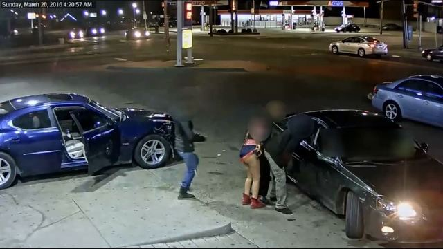 Woman at gas station with gun in underwear