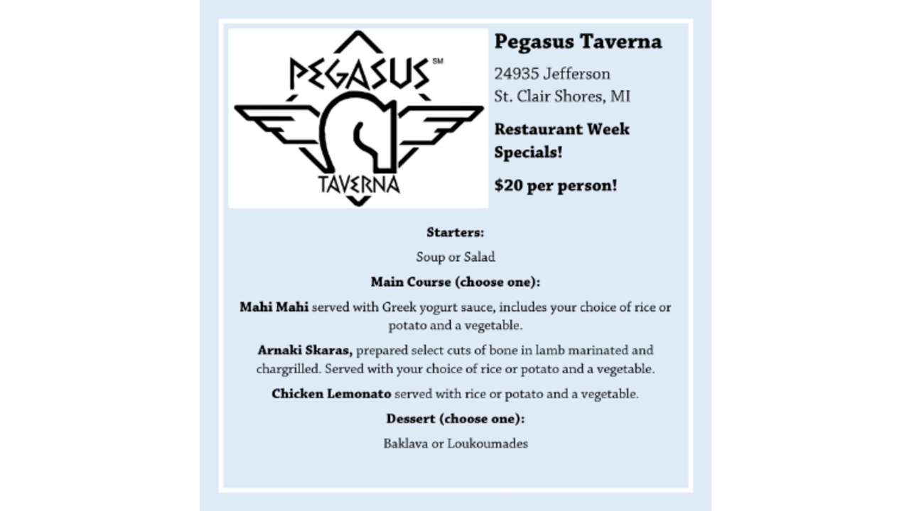 Pegasus restaurant st clair shores coupons
