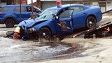 MSP trooper crashes into fire hydrant, flooding streets