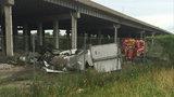 Semi overturns on NB I-75, falls off Rouge River bridge