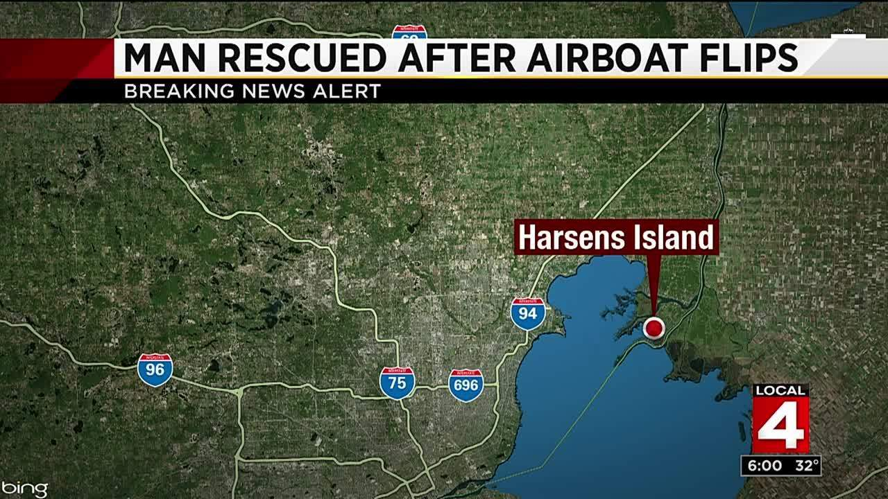Man pulled from water near Harsens Island after airboat flips