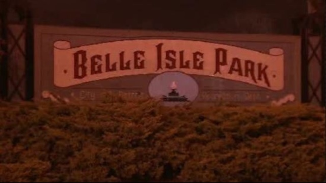 Belle Isle Park sign at night