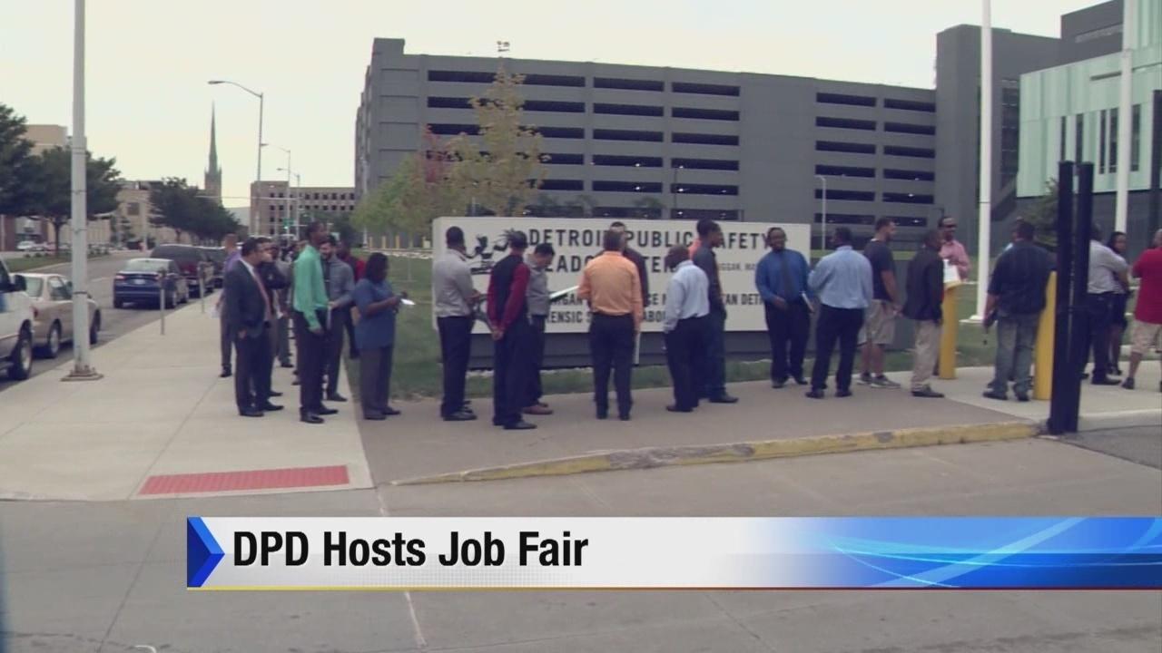 hopeful officers line up for dpd job fair. Black Bedroom Furniture Sets. Home Design Ideas
