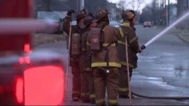 Detroit firefighters at fire