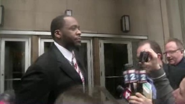 Kwame Kilpatrick outside after verdicts